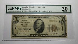 $10 1929 Arcola Illinois IL National Currency Bank Note Bill! Ch. #2204 VF20 PMG