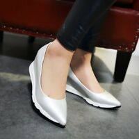 Fashion Women Wedge Heels Pumps Platform Pointy Toe Slip on Casual Simple Shoes