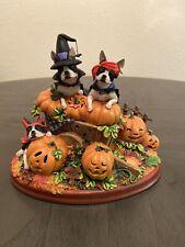 Danbury Mint Halloween Pumpkin Patch Boston Terriers Dog Figurine - Retired