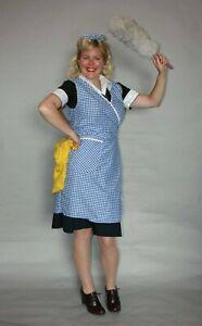 Ladies 1940s Style Housecoat Wrap Around Pinny Apron Hilda Ogden Fancy Dress WW2