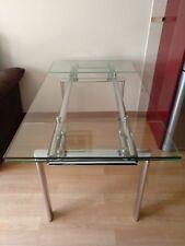 Mesa de Comedor Extensible plata y cristal Templado y MDF 160x80 más 30 a cada