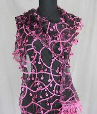 Sequin Tasselled Net Scarf (Dark Pink & Black) (Price Reduced)