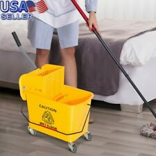 20L 5.28 Gallon Mini Mop Bucket W/Wringer Combo Commercial Rolling Cleaning Cart