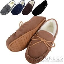 SNUGRUGS Mens Genuine Suede Moccasin Sheepskin Slippers Rubber Sole sizes 6-15