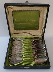 Vintage M J Ruckert German 800 Silver Demitasse Teaspoons Boxed Set