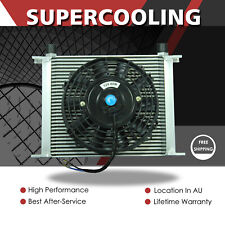 Silver 30 ROW AN10 Engine Transmission Aluminum Oil Cooler + 7 Inch Electric Fan