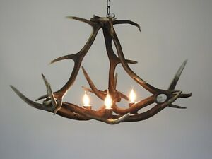 Real Deer Antler Chandelier, Pendant Light for Rustic Cabin, Living Room Light