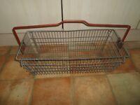 Unusually LARGE Vintage Retro Metal Shopping Basket Red Plastic Coated Handle
