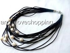 """17-20"""" 15 rows black leather white genuine cultured freshwater pearl necklace"""