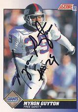 Myron Guyton Autograph On A 1991 Score - New York Giants - Free Ship