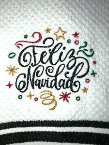 Embroidered Striped Kitchen Bar Towel Feliz Navidad- Merry Christmas in Spanish