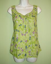 Boden Green Floral Sleeveless Pleated Neck Woven Tank Top 14