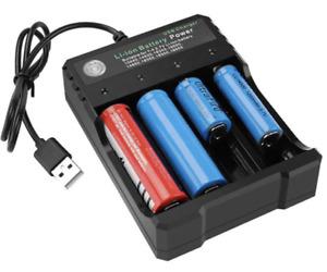 4-Slot 3.7V 18650 18350 Li-ion Batteries USB Charger Smart Fast Charging Dock UK