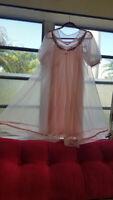 Vtg 60s Pink Babydoll Peignoir Sheer Nylon Chiffon Lisette Nightie Lingerie S/M