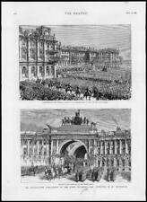 1880 - Antique Print RUSSIA St. Petersburg Winter Palace Czars Ascension  (183)
