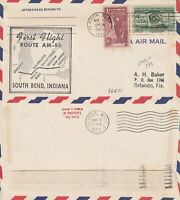US 1955 AM 86 FIRST FLIGHT FLOWN AIR MAIL COVER SOUTH BEND IND TO DETROIT MICH