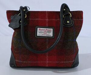 Harris Tweed Women's Plaid Shoulder Tote Bag KB8 Red Medium NWT