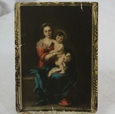 """Italian Firenze Madonna child after Murillo painting religious print 7"""" x 10"""""""