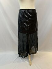 Revolve Line & Dot Millionaire Sequin Party Skirt Mini Maxi Silk Black Medium