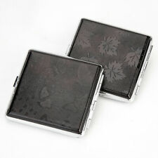 Pocket PU leather metal cigarette holder container storage box