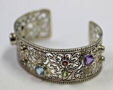 Sterling Silver SAMUEL B Cuff Design Wide Bracelet with Gem Stones