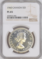 :1960 S1$ DOLLAR ELIZABETH-II CANADA KM#54 LOW-POP RARE NGC PL-65 HIGHEST-GRADES