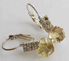 boucles d'oreilles dormeuse rétro cristal jaune et diamant couleur argent 589