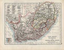 1909 VICTORIAN MAP ~ SOUTH AFRICA CAPE COLONY TRANSVAAL ORANGE RIVER COLONY
