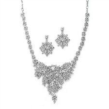 Art Deco Vintage Style Floral Wedding Bridal Jewelry Set - Silver