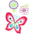 """"""" Peace, Love  Tattoos """", Pink Butterfly, Flower, Peace Hearts, Made in USA"""