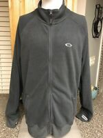 Oakley Full Zip Fleece Jacket Gray Mens XL With Thumb Holes, Spell Out
