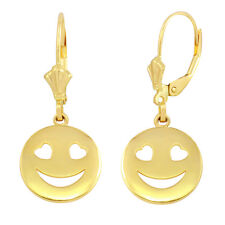 14k Solid Yellow Gold Heart Eyes Smiley Face Round Drop/Dangle Leverback Earring