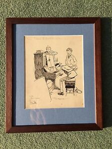 Tom Browne RBA RI RMS 1870 -1910 cartoon ink illustration drawing With his nose