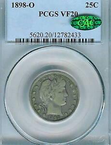 1898-O Barber Quarter : PCGS VF20  CAC Sticker