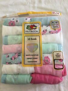 NWT Fruit of Loom Girls Briefs Panties Underwear 14 pairs/pack Stripes Flowers