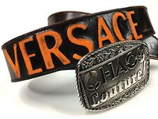 VERSACE VINTAGE '02 CHAOS COUTURE! BELT MEN BACK EMBOSSED LOGO LEATHER ITALY
