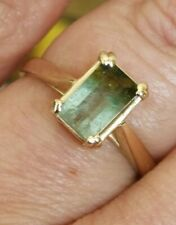 Emerald cut natural Green watermelon tourmaline ring solid 9ct gold size N vtg