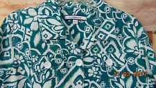 CROFT & BARROW Women's Large Teal White Long Sleeve Button Front Linen Shirt $44