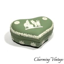 Antique Vintage Wedgwood Green Jasperware Heart Shape Box Jewelry Box