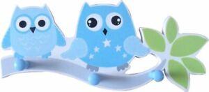 OWL WOODEN COAT HOOK DOOR HAT WALL HANGER nursery woodlands 3 hooks blue white