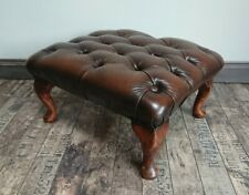 Brown leather Chesterfield button topped stool Cabriole Legs footstool excellent