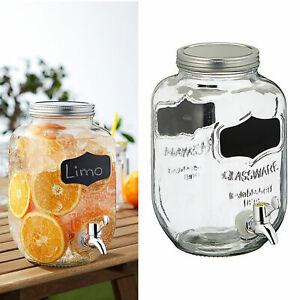 Getränkespender mit Zapfhahn Deckel 3,5L Retro Glas Wasser Limonade Saftspender