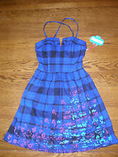 NWT DARLING Blue & Black Flannel Removable Spaghetti Strap Dress XS, $60 L'AMOUR