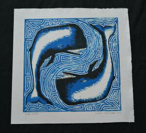 "Double Whale- Handmade Linoprint (15x15"") Sperm whale ocean creature blue planet"