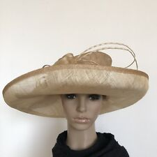 Ladies Beige Bow Elegant Organza Formal Race Wedding Melbourne Cup Hat H434