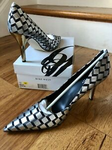 Nine West BARBE Classic Wicked Pointy Toe Pump Silver Geometric VERY FUNKY 12M