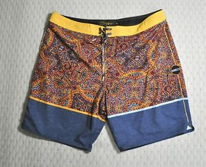 O'Neill Hyperfreak Cang Gu Stretch Board Shorts Sz 38 Swim Trunks Yellow Gray