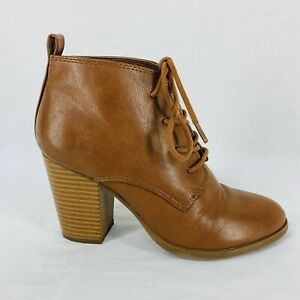 Leather Ankle Booties Boots Shoes Round Toe Tan Forever 21 Womens Size US 5.5