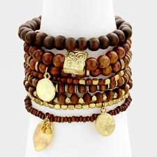 Bali Wood Charm Multi Bead Stretchable 8 Layer Multi Bracelets  Brown/Goltone