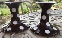 Fitz and Floyd Brown/White Polka Dot Candle Holders Porcelain Japan Vintage EUC